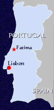 Location (map of) Fatima, Portugal